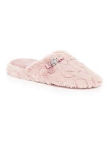 Fur Wedge Mule Slippers