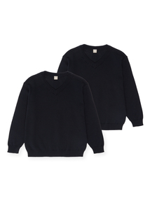 Unisex Navy V-Neck Jumpers 2 Pack (3-12 years)