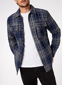 Black Quilt Lined Check Overshirt