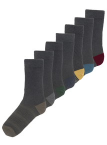 Grey Patterned Stay Fresh Socks 7 Pack
