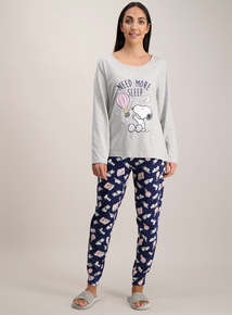 Snoopy Grey 'Need More Sleep' Pyjamas