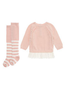 Girls Pink Cable Broderie Trim Dress And Tights (0-24 months)