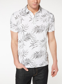 White Palm Tree Print Polo Top