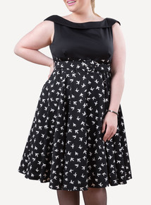 EMILY Black Bird Courtney Contrast A Line Dress