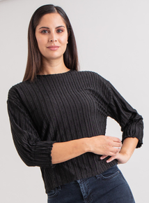 Premium Black Stripe Jacquard Jersey Top