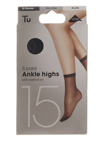 Black Lyrca 15 Denier Ankle Highs 5 pack