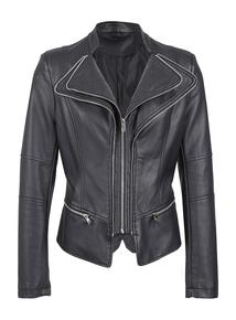 IZABEL Black Zip Detail Biker Jacket