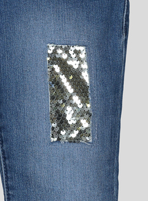 Mid-Wash Denim Sequin Jeans (3- 14 years)