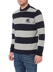 Navy Block Stripe Rugby Top