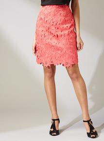 Premium Coral Floral Lace Skirt