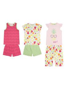 Multicoloured Pineapple Pyjama Set 3 Pack (18 months - 12 years)