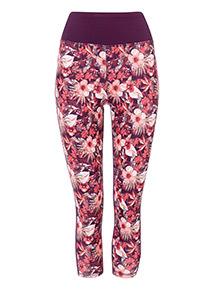 Multicoloured Cropped Floral Leggings