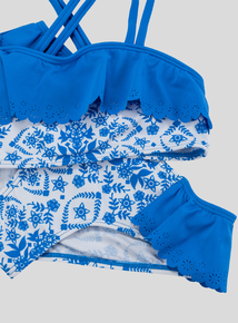 Blue and White Floral Frill Bikini (5-14 years)