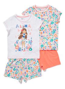 2 Pack Multicoloured Aloha Pyjamas