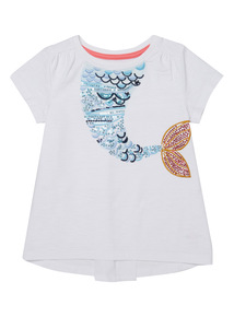 White Mermaid Embroidered Top (9 months - 6 years)