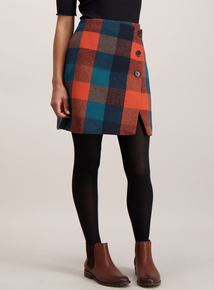 Multicoloured Brushed Check Skirt
