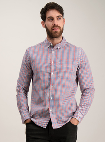 Online Exclusive Red & Navy Gingham Slim Fit Shirt