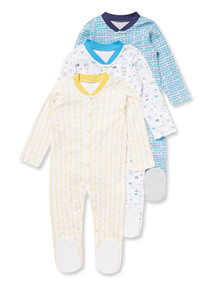 3 Pack Blue Sea Print Sleepsuits (Newborn-24 months)