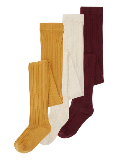 64c790819 Kids Girls Multicoloured Cable Knit Tights 3 Pack (12 months - 12 years)