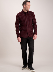 Burgundy Retro Print Regular Fit Corduroy Shirt