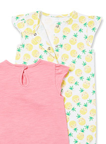2 Pack Multicoloured Fruit Printed Rompers (0-24 months)