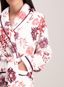 Cream Floral Print Dressing Gown
