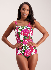 Pink Floral Low Leg Retro Swimsuit