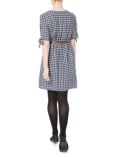 Navy Gingham Belted Dress