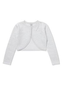 Silver Flower Sequin Knitted Bolero