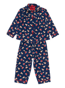 Girls Navy Robin Woven Pyjama Set