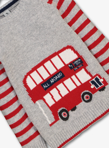 Red London Bus Striped Knitted Jumper (12 Months - 6 Years)