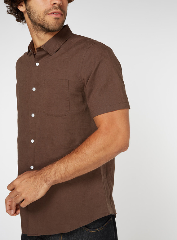Brown Linen Rich Regular Fit Shirt