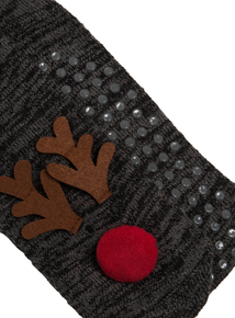 Charcoal Grey Reindeer Light Up Slipper Socks