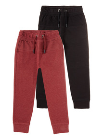 2 Pack Burgundy and Black Joggers (3-14 years)