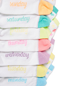 7 Pack Multicoloured Neon Days of The Week Socks (6 infant - 5.5 adult)