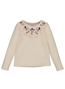 White Embroidered Yoke Top (9 Months - 6 Years)
