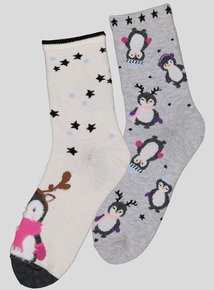 Multicoloured Christmas Penguin Socks 2 Pack