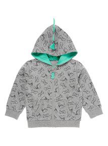Boys Grey Dino Hoodie (0 - 24 months)
