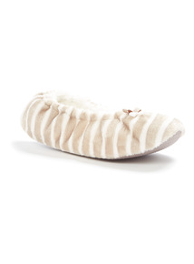 Brown Stripe Ballerina Slippers