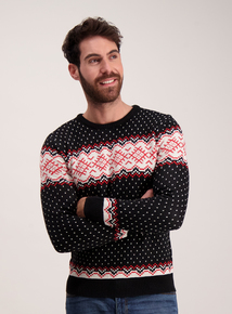Black Fairisle Snowflake Crew Neck Jumper