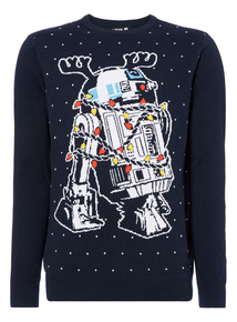 Navy Christmas Star Wars R2D2 Jumper
