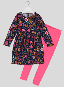 Multicoloured Floral Cord Dress With Leggings (9 months - 6 years)