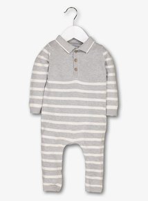 Grey Stripe Knitted Romper (0-24 Months)