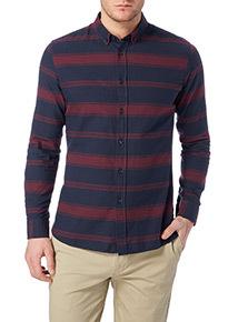 Navy Slim Horizontal Stripe Shirt