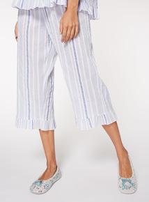 Stripe Woven Cropped Pyjama Bottoms