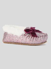 Pink Glitter Moccasin Slipper (6 Infant- 4 Child)