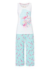 Flamingo Print Pyjama Vest Top