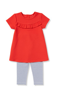 Multicoloured Frill Jersey Leggings and Top Set  (0-24 months)