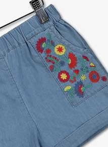 b8b64033b Out of stock Blue Denim Floral Embroidery Shorts (9 Months - 6 Years)