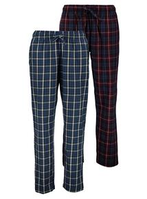Burgundy & Navy Check Woven Pyjama Bottoms 2 Pack